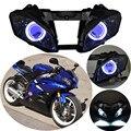 06 07 Assembled Custom Projector Headlight HID White Angel Eyes & Blue Demon Eyes Fits For Yamaha YZF R6 2006-2007