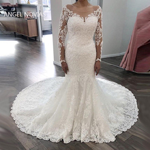 Angel Novias Long Sleeves Lace Mermaid Wedding Dresses 2019