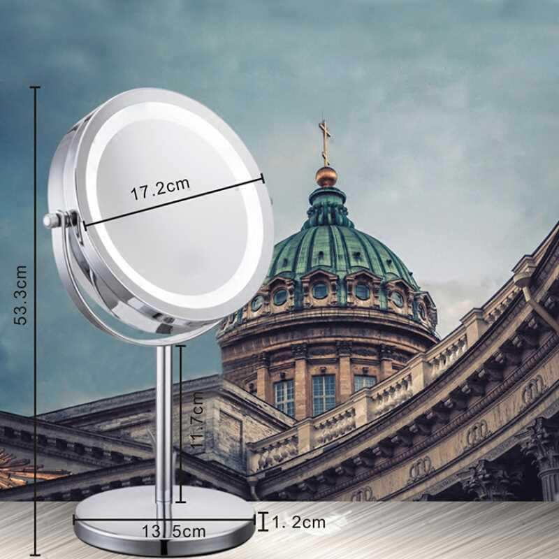 Modern simple 7 inch LED makeup mirror table Vanity lights two-sided mirror high-definition magnification 10 times battery style
