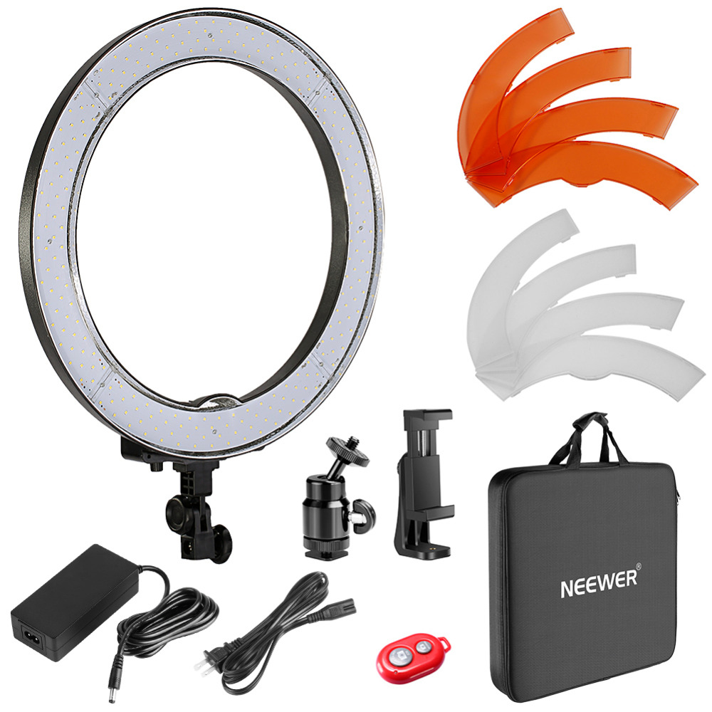 Neewer 18-inch Outer Dimmable SMD LED Ring Light Lighting Kit Color Filters Rotatable Phone Holder Hot Shoe Adapter and Bag