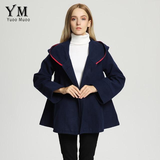 US $32.76 36% di SCONTO YuooMuoo New Brand Fashion Casual Donna Autunno Inverno Giacca Vintage Cappotto di Lana Mantello Caldo Mantello Con Cappuccio