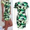 Hot Sales Summer Vestidos Sexy Short Sleeve Women camouflage Basic Dress Slim Bodycon Solid Party Dresses