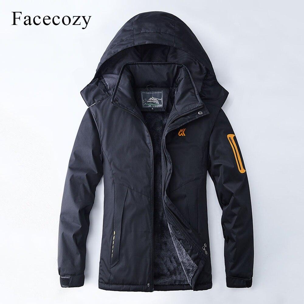 Facecozy New Men Women Winter Waterproof Hiking Softshell Jacket Warm Fleece Fishing Jacket Windproof Camping Skiing