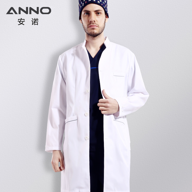 ANNO Cotton Polyester White Medical Lab Coat Long Sleeves Doctor Clothing Operating Room Outfit Scrubs Hospital Uniform