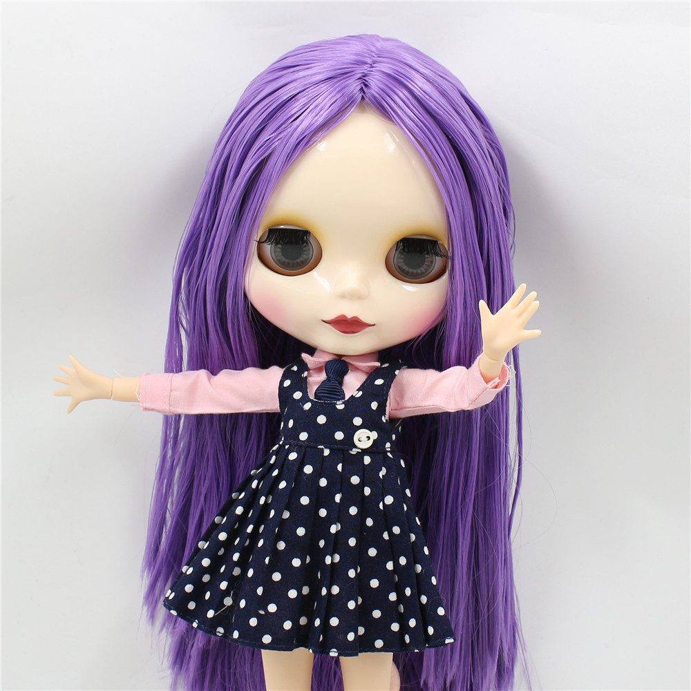 Neo Blythe Doll with Purple Hair, White Skin, Shiny Face & Jointed Body 3