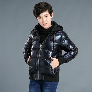 Image 4 - Зимнее пальто для мальчиков, парка, хлопковая стеганая куртка для больших детей, теплая пуховая куртка с бронзовым капюшоном, утепленная водонепроницаемая верхняя одежда для подростков