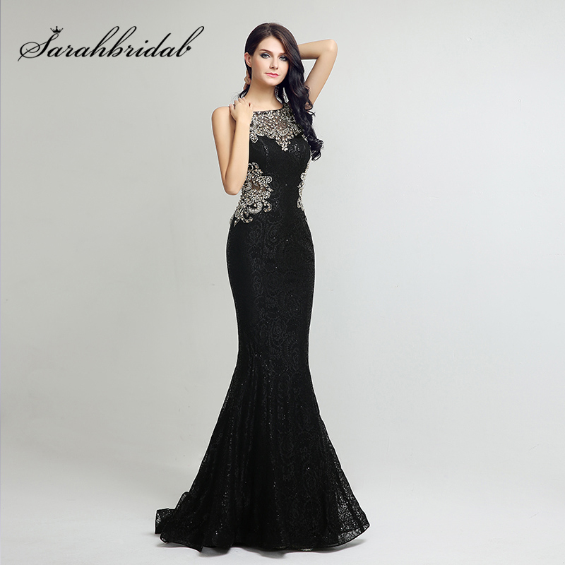 Elegant Lace Long Mermaid   Prom     Dresses   Black Sequin with Beading Crystal Illusion Back Evening Party Gowns Formal   Dress   OL171