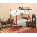 1:12 Euro Classic Bedroom Furniture Miniature 5in1 Bed+Rocking chair+Full-length mirror+Table+Side cabinet Dollhouse Accessories