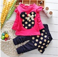 Hot Minnie Mouse Real Cotton 2016 Girls Clothing Set T-shirt + Pants Suit 2pcs/set Long-sleeved Dot For 2-5T Baby girls clothes
