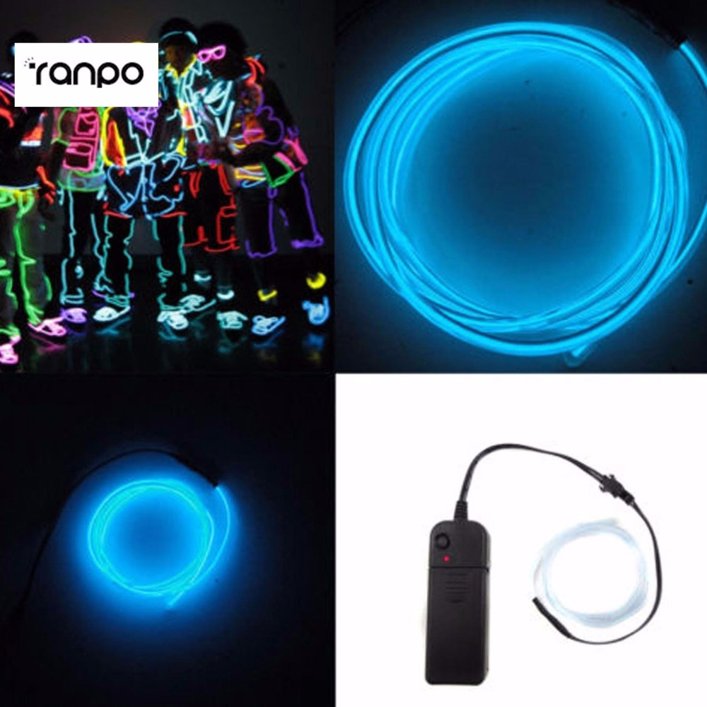 1 Sets/lots Sky Blue Light Neon String Tube  5m EL Wire Glow Party Car LED Decoration&Controlle fashionable car decoration car neon lights 15cm blue light