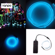 1 Sets/lots Sky Blue Light Neon String Tube 5m EL Wire Glow Party Car LED Decoration&Controlle