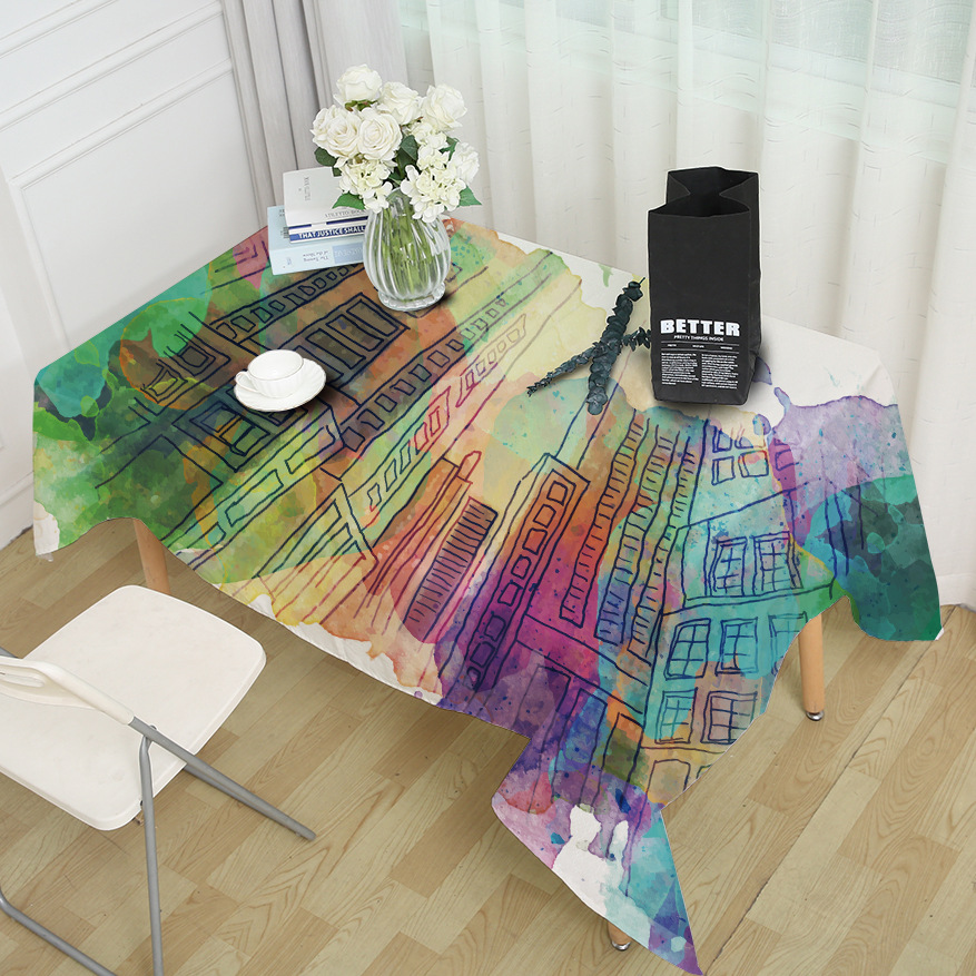 Idyllic Style Home Tablecloth Polyester Hand-painted Geometry Tablecloth City Scenery Tower Rectangular Tea Table Colorful Cloth
