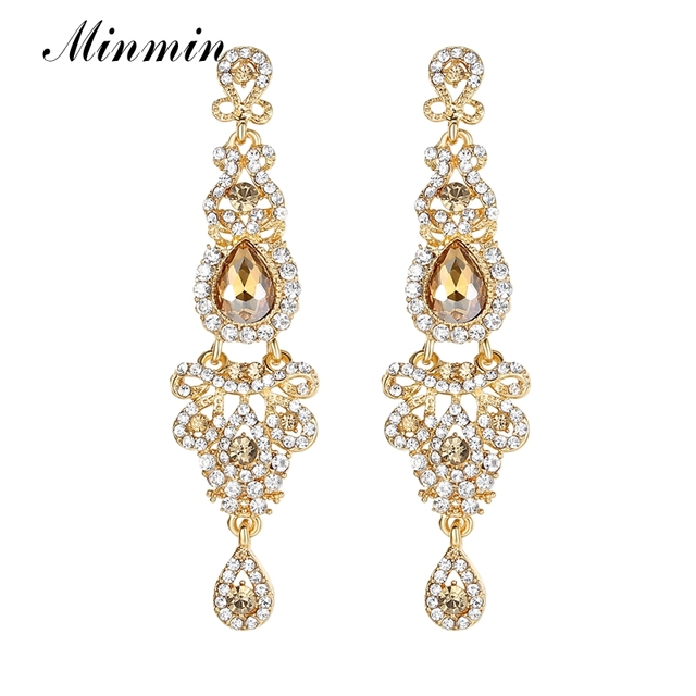 573b64e826033 US $2.98 35% OFF|Minmin Champagne Crystal Wedding Drop Earrings Luxury  Bridal Chandelier Earrings Wedding Engagement Jewelry for Women EH162-in  Drop ...