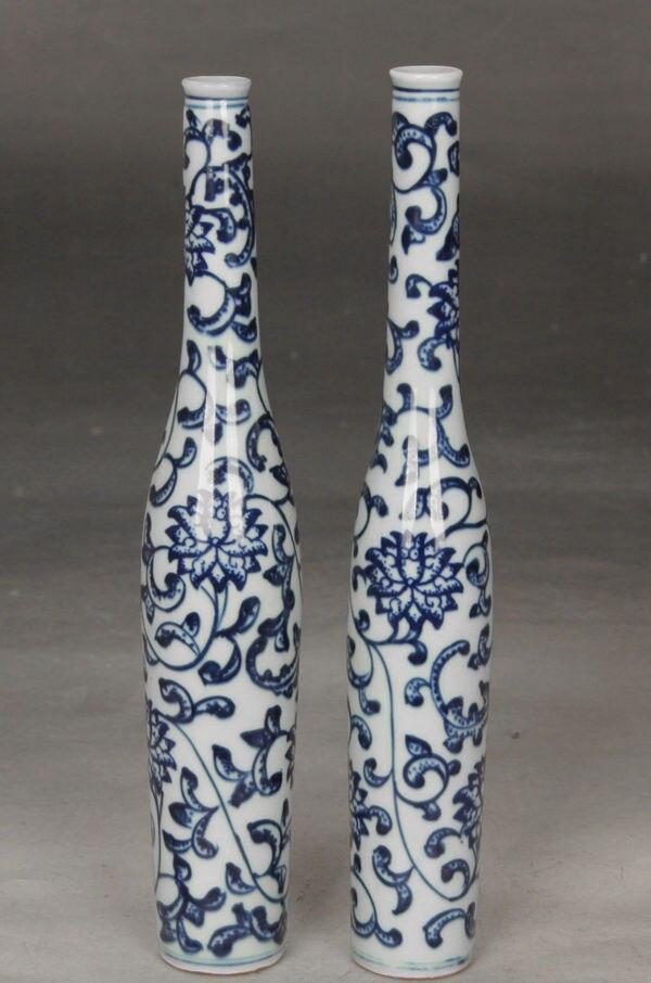 Jeden pár Fine Beautiful Chinese Blue and white porcelánová váza malba květinNR