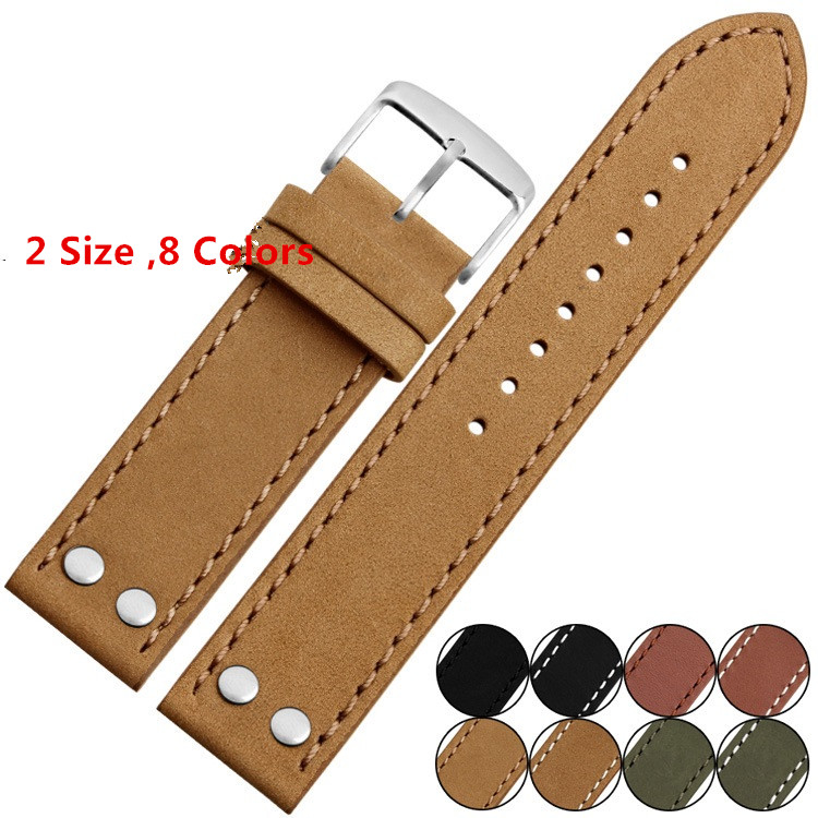 Carty 20mm 22mm Genuine Leather Green Black Brown Watch Strap Watchband for Business Men Watch genuine leather watchband 20mm black brown replacement leather wristband for garmin vivomove apac strap