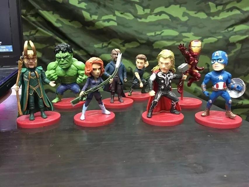Iron Man Marvel Avengers 8pcs/set Hawkeyes <font><b>Black</b></font> Widow Hulk Thor 8CM PVC Toys Action <font><b>Figure</b></font> Doll Decoration KIDS Gift