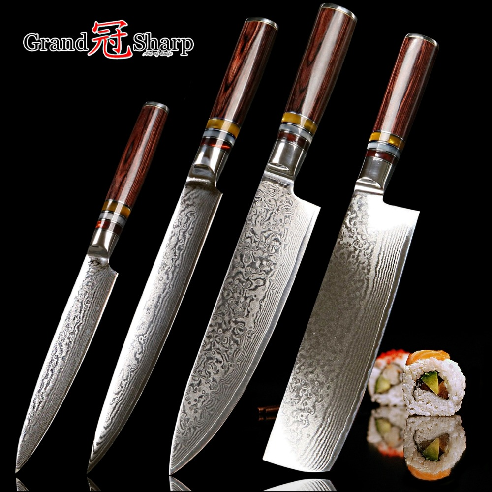 Grandsharp New 2018 Knife Set 4 Pcs Chef Slicing Nakiri