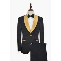 HB027 Últimas Bragas de la Capa Diseños Patrón Negro Mantón de la Solapa de Los Hombres Traje Formal Relieve Flaco Prom Traje Masculino Blazer Terno Tuxedo