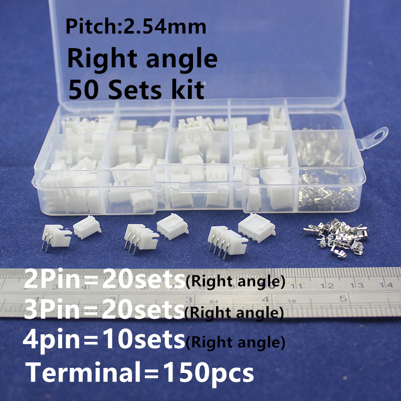 50 sets Kit in box 2p 3p 4pin Right angle 2.54mm Pitch Terminal / Housing / Pin Header Connector Wire Connectors Adaptor XH Kits 100sets lot connector ch3 96 molex 3 96 3pin 180 degrees top entry pitch 3 96mm pin header terminal housing ch3 96 3p
