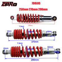 TDPRO New 250mm 270mm 290mm ATV Buggy Rear Shock Absorber Suspension Spring For 50 150cc Motorcycle Go Kart Quad Pit Bike 700LBS
