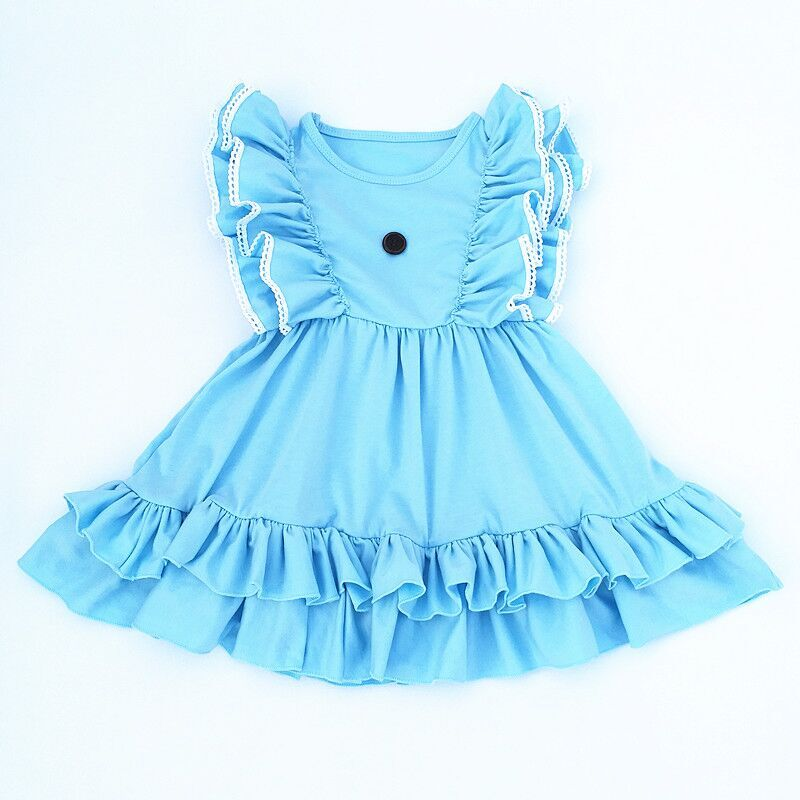 564547697c6f0 US $14.99  2018 Latest princess sweet baby girl party dress children frocks  designs solid flutter sleeve kids clothes-in Dresses from Mother & Kids on  ...