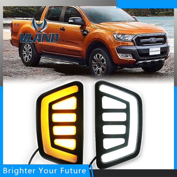 Car Accessories Waterproof Daytime Running Fog Light Lamp DRL Yellow Turn Signals For Ford Ranger 2012-2015 for ford fusion 2013 16 guiding light daytime running lights drl turn signals 2x
