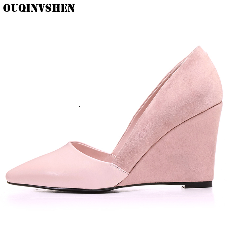 OUQINVSHEN Wedges Women Pumps Women Brand Shoes Pointed Toe Single Shoes Casual Fashion Pumps Shoes High