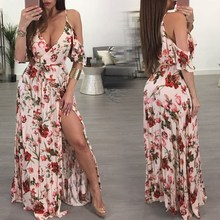 Vintage Floral Print Boho Dress Women Sexy Maxi Split Beach Summer Sash Long