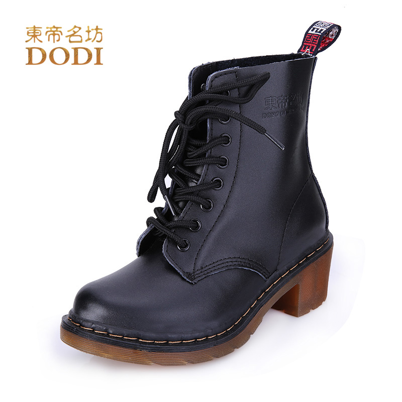 ФОТО Winter Boots Square Heel Lace Up Shoes Crossed Type Mid-Calf Cow Split Solid Color 42985