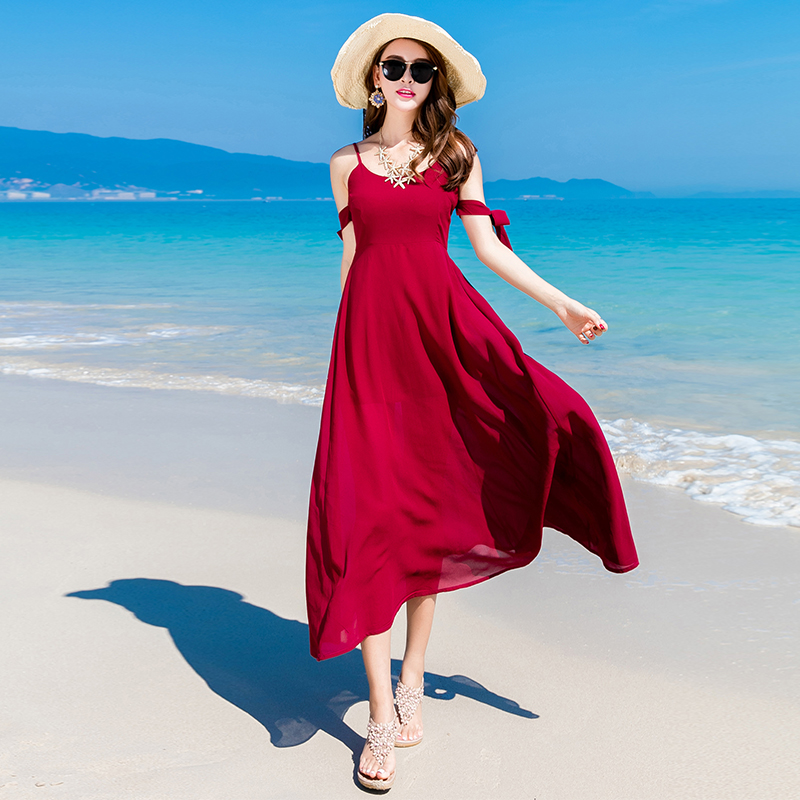 Red Fashion: New 2017 Women Summer Beach Dress Off Shoulder Sleeveless