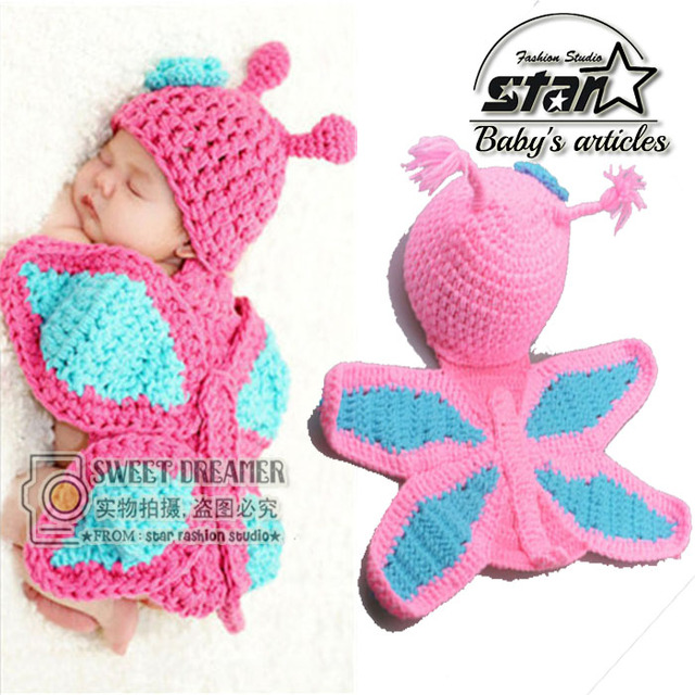 New Born Baby Girl Clothes Romper Butterfly Design Newborn Knit