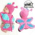 New Born Baby Girl Roupas Borboleta Romper Projeto Recém-nascidos de Malha Handmade Crochet Halloween Cosplay Outfits