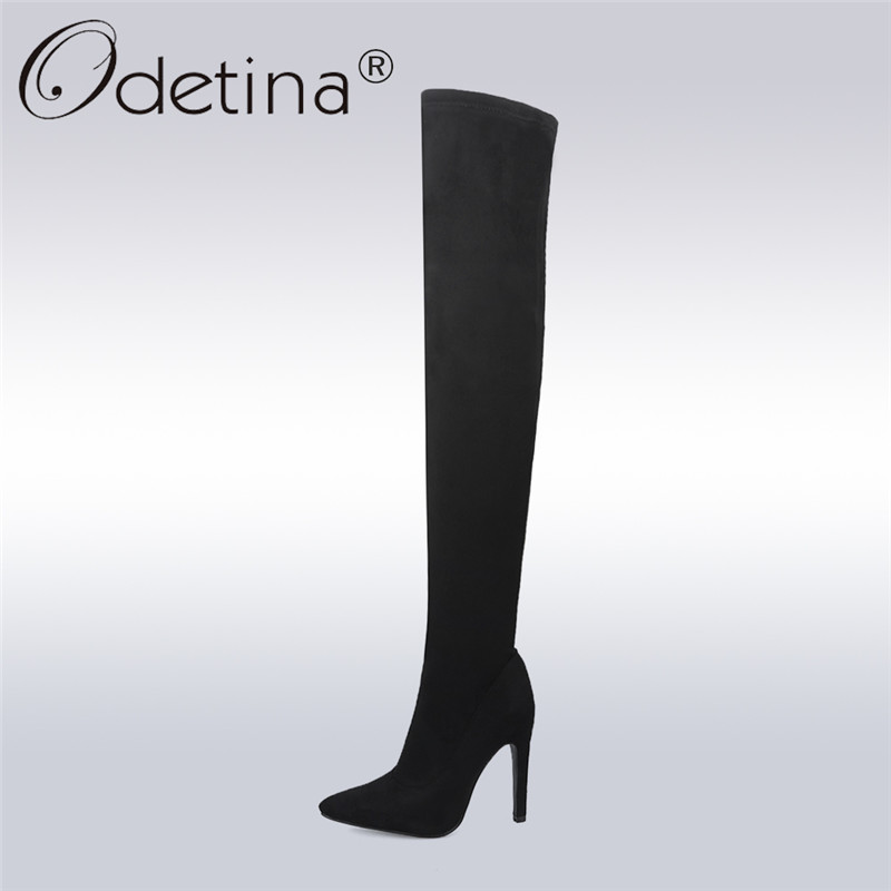 Odetina 2018 New Women Stretch Slim Thigh High Boots Sexy Fashion Over The Knee Boots Ladies Pointy Toe High Heel Stiletto Shoes odetina warm cotton snow boots black over the knee long boots womens thigh high boots waterproof fashion ladies winter shoes