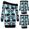 Long Sleeve Skull Print Sweater Women Plus Size Off Shoulder Knit Tops 2