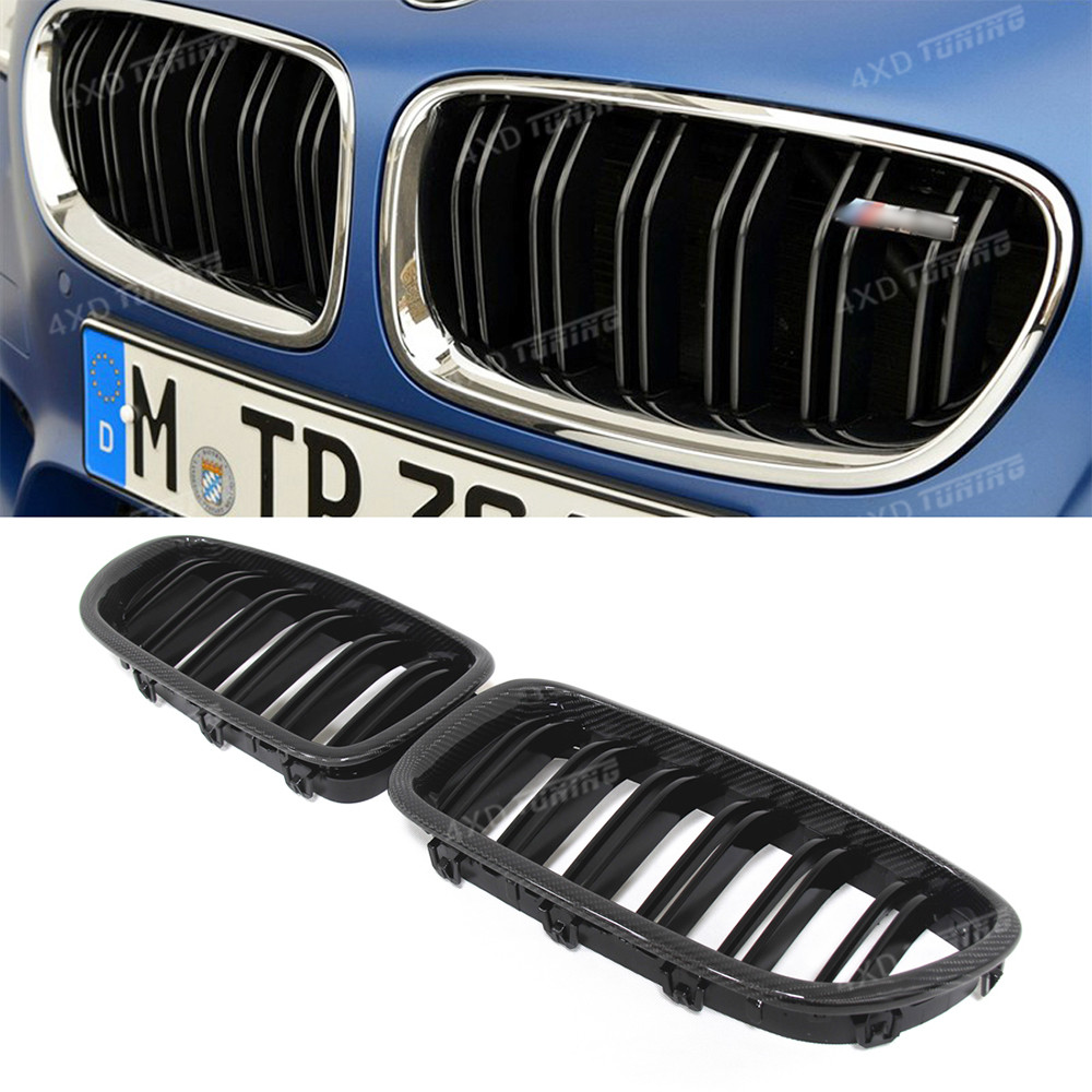 For BMW F10 Grille 5 M Series F10 & F10 M5 Carbon Fiber & ABS Plastic Front Grille Dual & Single Slat Gloss Black Finish 2010-UP спойлер bmw f10 5 2010
