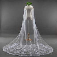 3 M Bridal Veil Lace Edge Wedding Veil with Comb One Layer Wedding Veils Wedding Accessories velos de novia 2018 Mingli Tengda