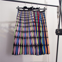 Satin Printed Pleated Skirt Spring Fall New Colour impact Wave Point Printed High Waist Mid length Skirts Ladies Bohemian Skirts