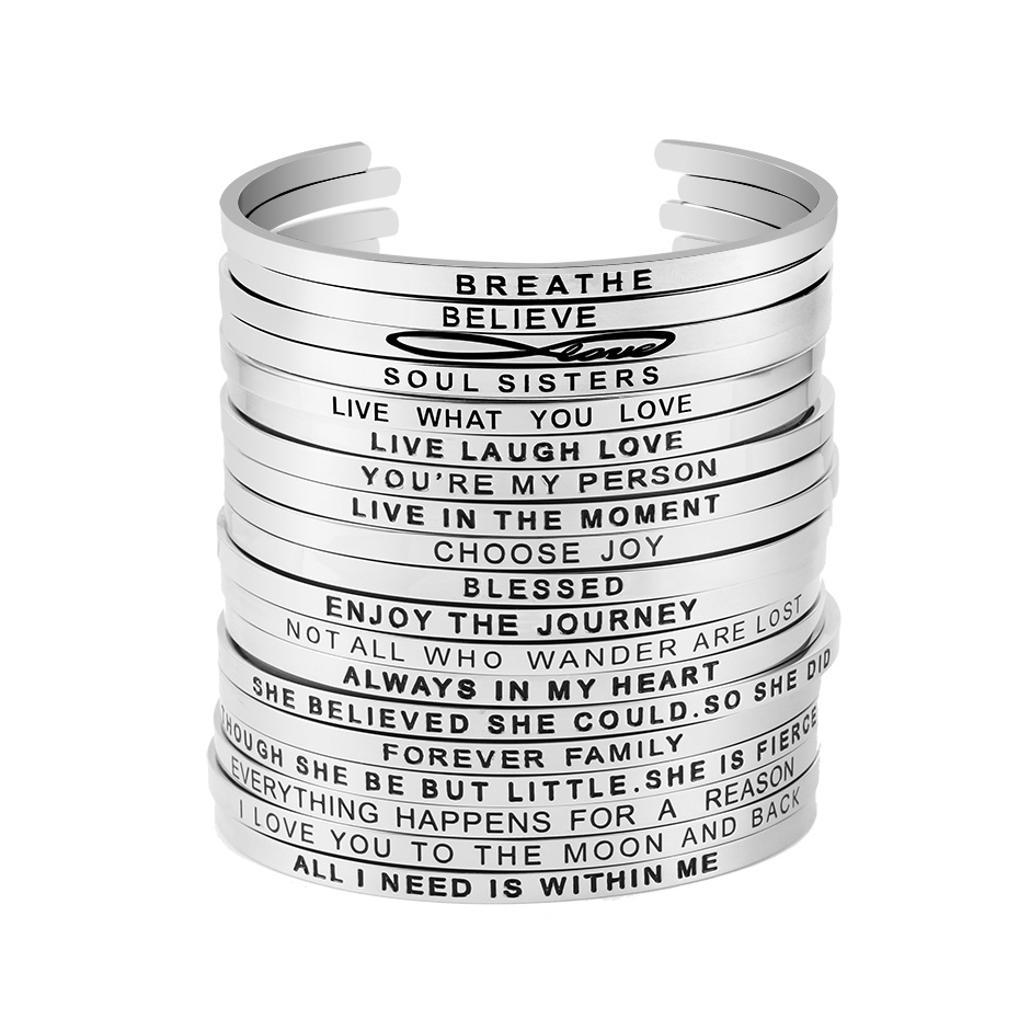 Silver inspirational cuff bangle for girls women 316L stainless steel engraved 74 positive phrases mantra bracelet jewelry in Bangles from Jewelry Accessories