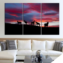 Landscapes Icelandic Horses Painting 3 Piece Style Picture Canvas Printing Type Modern Home Decorative Wall Artwork Poster