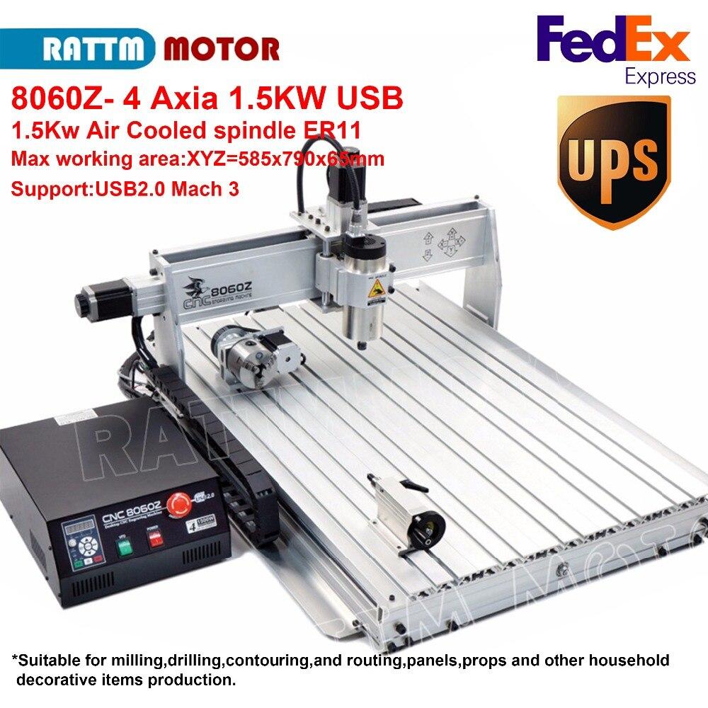 1.5KW/2.2KW CNC 8060Z 4 Axis USB MACH3 ER16 CNC Router Machine Engaver Drilling Machine