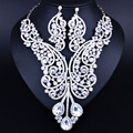 Fashion Crystal Rhinestone Necklace earrings Set for Women Wedding Exaggerated bridal jewelry set