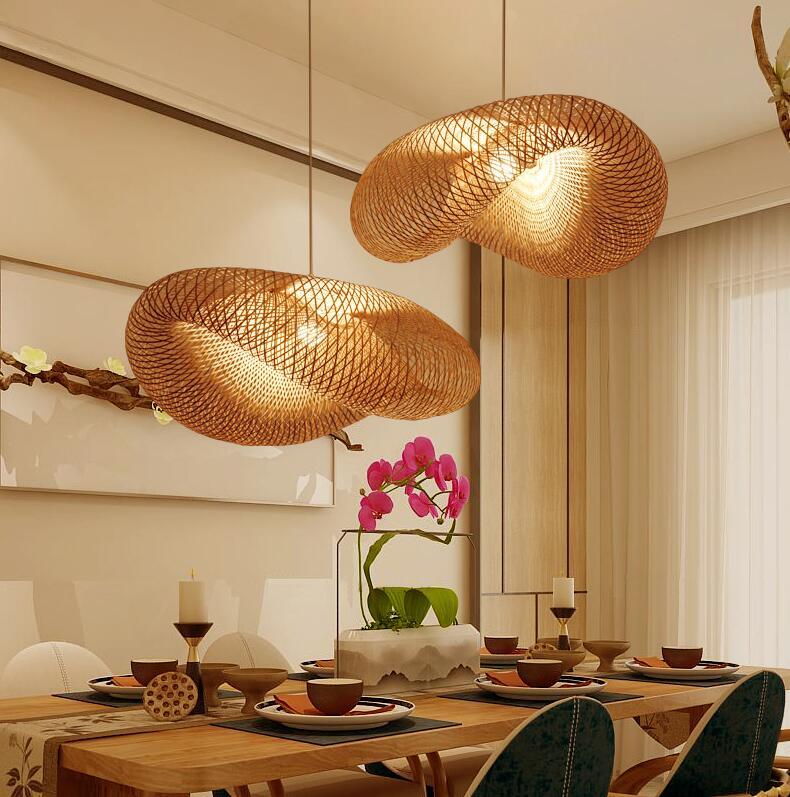 Creative Main Bambou Tissage Pendentif Lampes Campagne Restaurant Suspendus Lampes Personnalité Café Bar LED Lampes Suspendues
