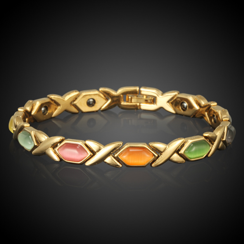 HOMOD Ευρωπαϊκό βραχιόλι υγιεινής μαγνητών True Gold Χρώμα Opal βραχιόλια & Bangles για τις γυναίκες Κοσμήματα χονδρικής Pulseira Feminina