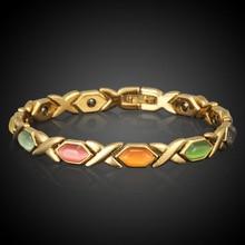 HOMOD European Health Magnet Bracelet True Gold Color Opal Bracelets & Bangles For Women Jewelry Wholesale Pulseira Feminina