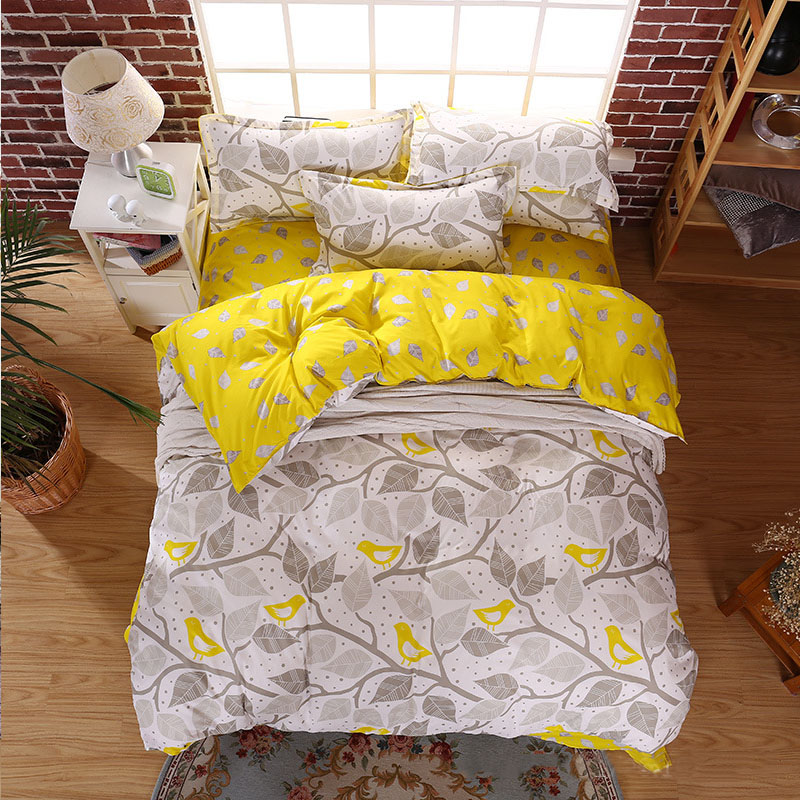 Lovely leaves 4pcs twin full queen king size bed quilt for King shams on queen bed