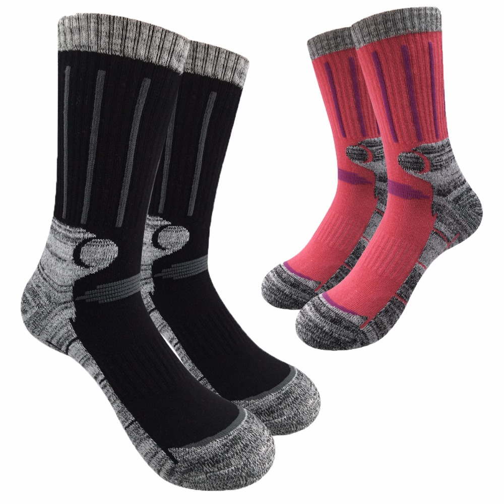 Unisex Winter Thermal Warm Socks Men Brand Combed Cotton Crew Socks Women Colorful Thick Towel Socks (2Pairs)