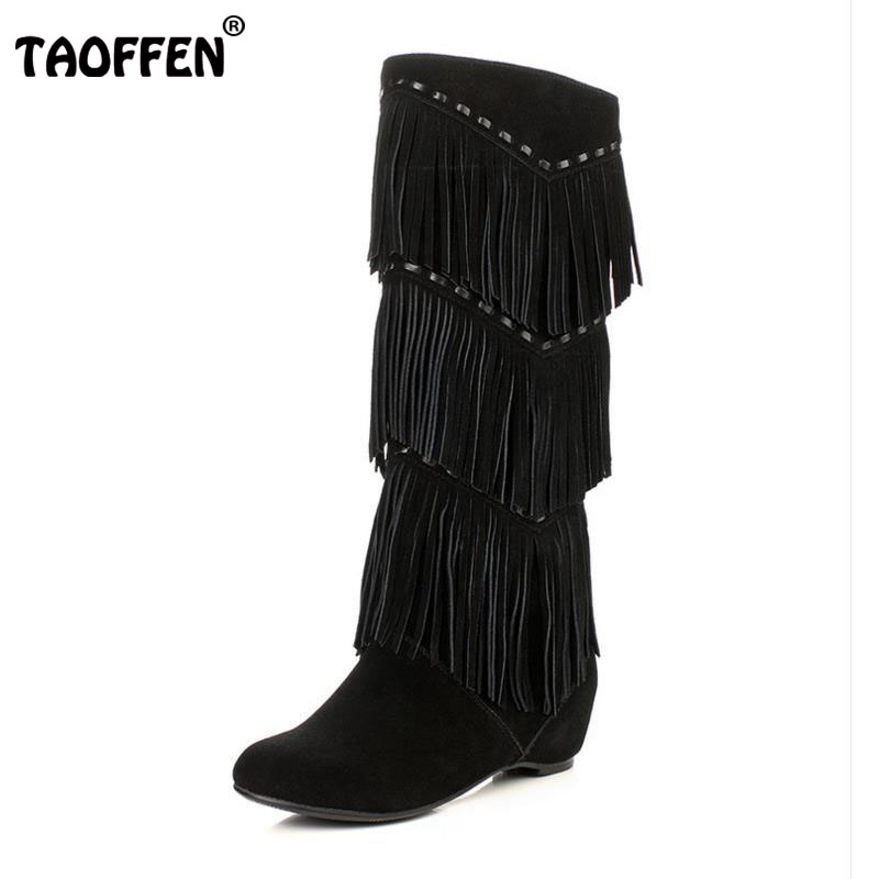 TAOFFEN Women Real Leather Wedges Boots Tassel Height Increasing Knee Boot Winter Long Bota Warm Shoes Women Footwear Size 34-40 women real genuine leather flat ankle boots cotton snow half short bota quality warm winter boot footwear shoes r7603 size 34 40