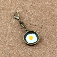 50Pcs /lots Antique bronze Pan Fried Egg Charm Bead with Lobster clasp Fit Bracelet Jewelry DIY 17x45.5mm A-305b