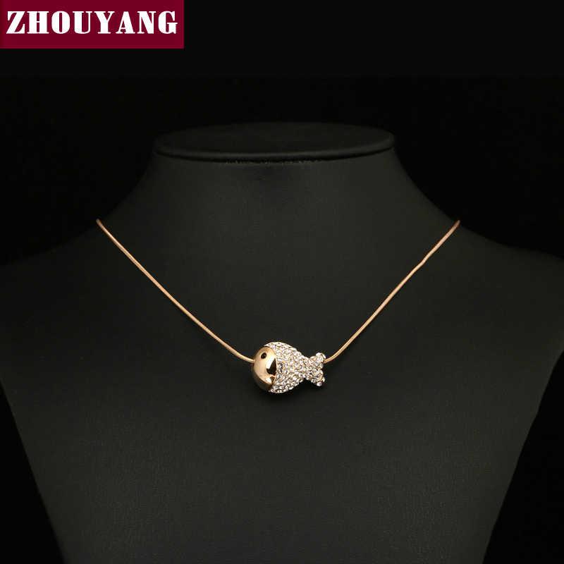 ZHOUYANG Top คุณภาพ ZYN010 Gold ปลาน่ารักสร้อยคอ Rose Gold สีแฟชั่นจี้คริสตัลออสเตรีย