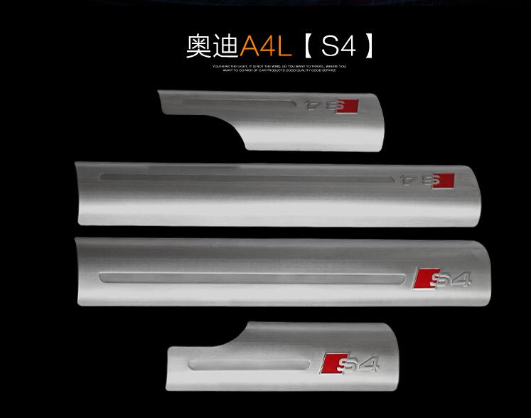 High quality Built pedal Cover threshold Stainless Steel Door sill scuff plate for Audi A4L S4logo2009-2016 car accessories high quality mazda 3 welcome pedal stainless steel door sill stickers led threshold stickers free shipping